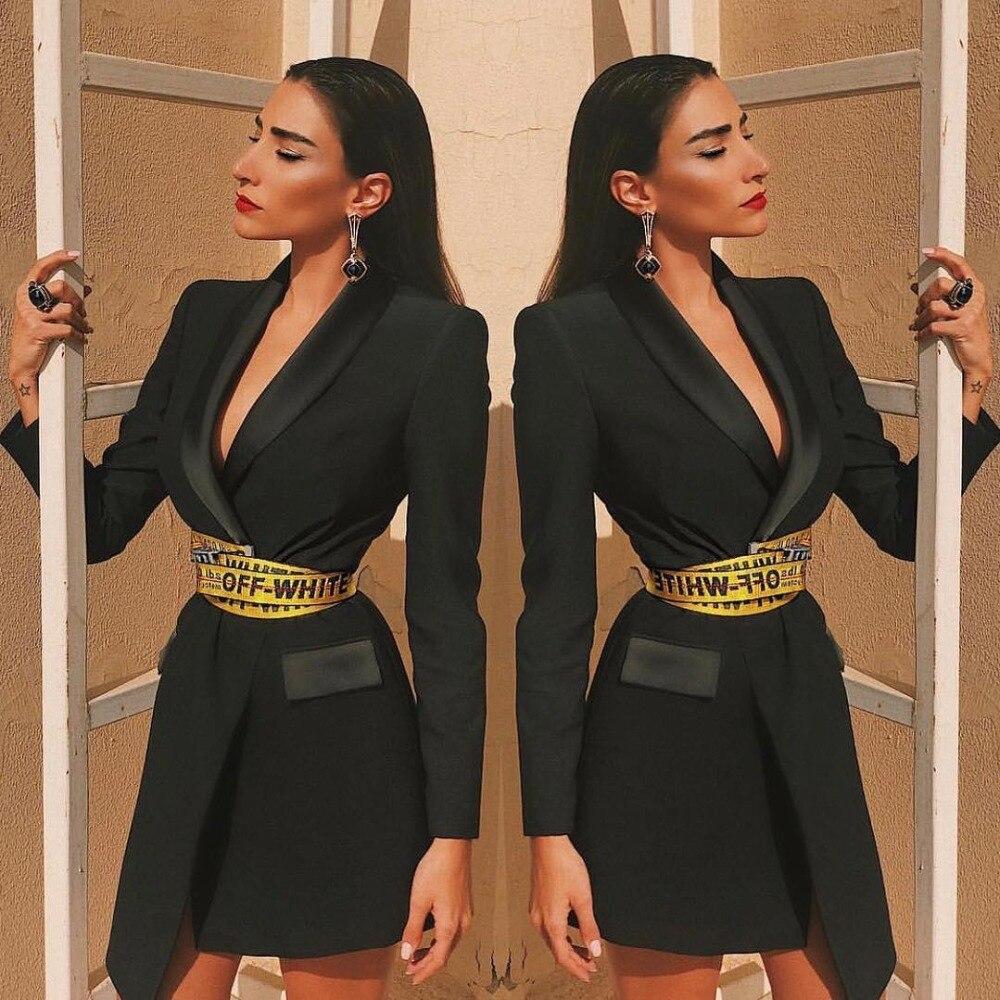 Haute qualité mode noir à manches longues col en V ceintures robe moulante robe de soirée