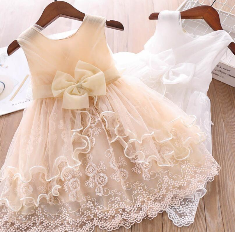 2019 Children Girls Summer Big Bow Embroidery Ruffles Dresses,  Princess Kids Fashion Party Dress ,  5 pcs/lot, Wholesale