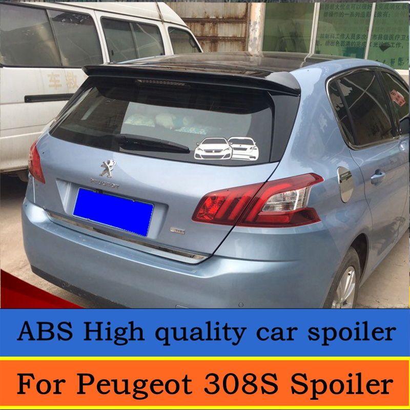 For <font><b>Peugeot</b></font> 308S 2014 <font><b>2015</b></font> 2016 High quality ABS material rear wing spoiler primer or DIY color 308S rear roof spoiler image