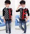 Новый горячая распродажа осень зима dot американского флага детей мальчик вязаный свитер одежда мода пальто пиджаки красивый