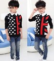 New hot sale fall winter dot American flag children boy knitted sweater clothes fashion coat outwear cool handsome
