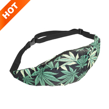 New 3D Colorful Waist Pack for Men Fanny Pack green leaves Style Bum Bag Women Money