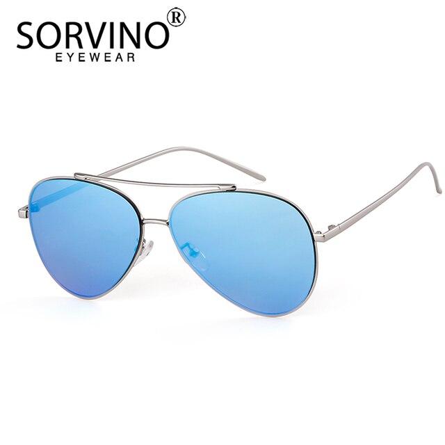 24650b963393 SORVINO Retro Designer Mirror Pilot Sunglasses Men Women 2018 90s Oversized  Rose Gold Slim Aviation Sun Glasses Big Shades SP189