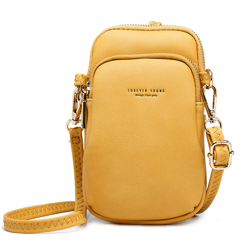 Yellow Small Shoulder & Chest Bag For Women Card Cell Phone Pocket Pu Leather Ladies Crossbody Bags Purse Female Messenger Bag