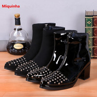 Miquinha Rivet Black Solid Ankle High High Thick Heel Zipper Men Botas Genuine Leather Patent Leather