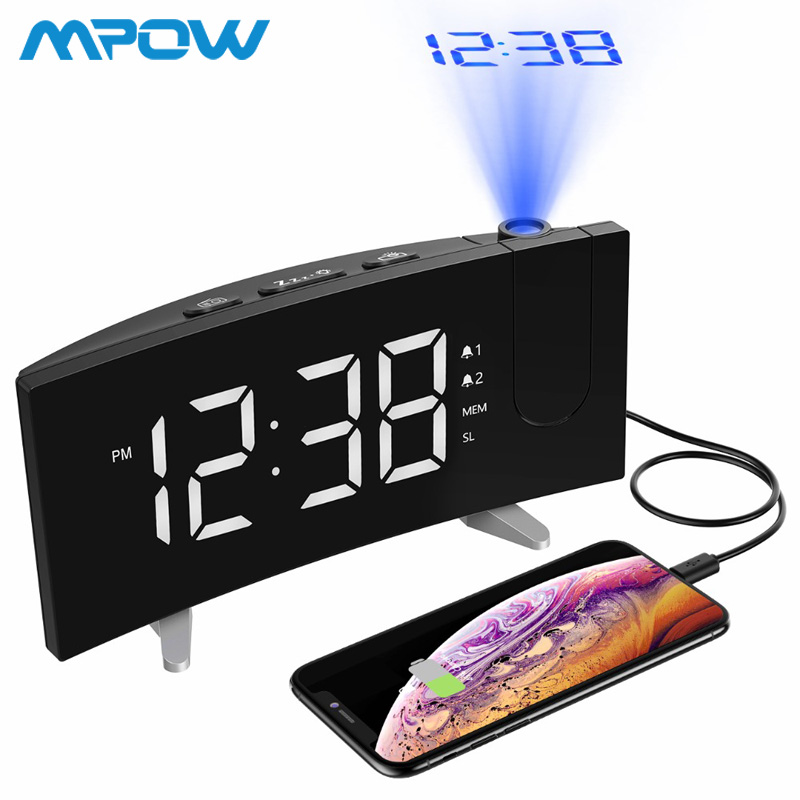 Mpow Projection LED Digital Alarm Clock FM Radio 5 inch Dimmable Screen Dual Alarms 3 Sounds Sleep Timer Wekker Reveil Sveglia