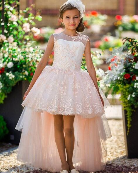 dd354404e8d Lace Flower Girl Dresses High Low Applique Beads Cute Kids Prom Gowns Kids  Frock Designs Vestido De Daminha For Weddings