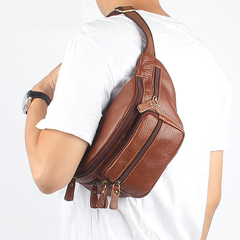Genuine Leather Waist Pack Men Bags Chest Pack Vintage Casual Male Outside Bags Real Leather Shoulder Bags Fanny Pack Bag