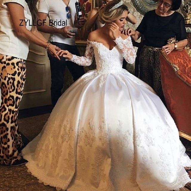Zyllgf Bridal Puffy V Neck Wedding Dress Satin White 2016 Elegant Long Sleeves Lebanese Gowns