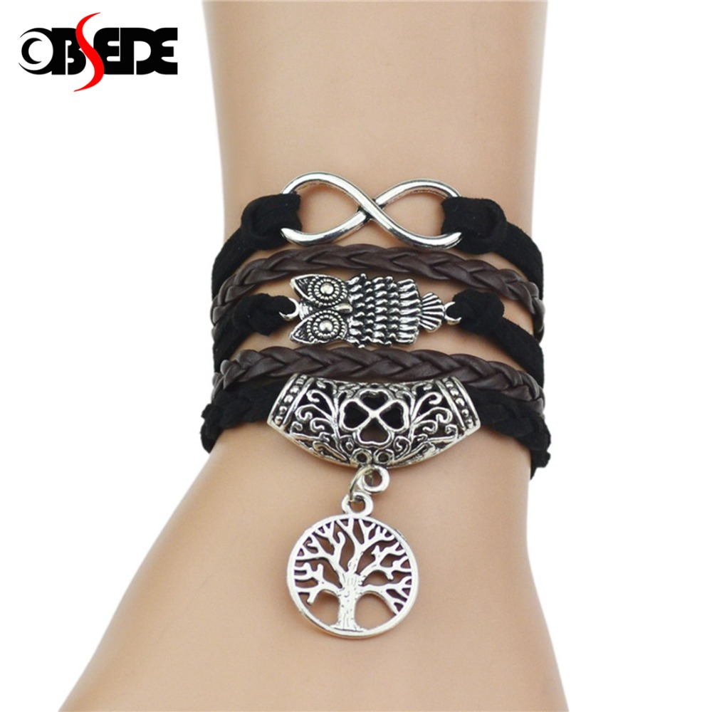OBSEDE Vintage Retro Tree of life Owl Infinity Leather Bracelet for Women Jewelry Braided Handwoven Wrap Leather Rope Chain