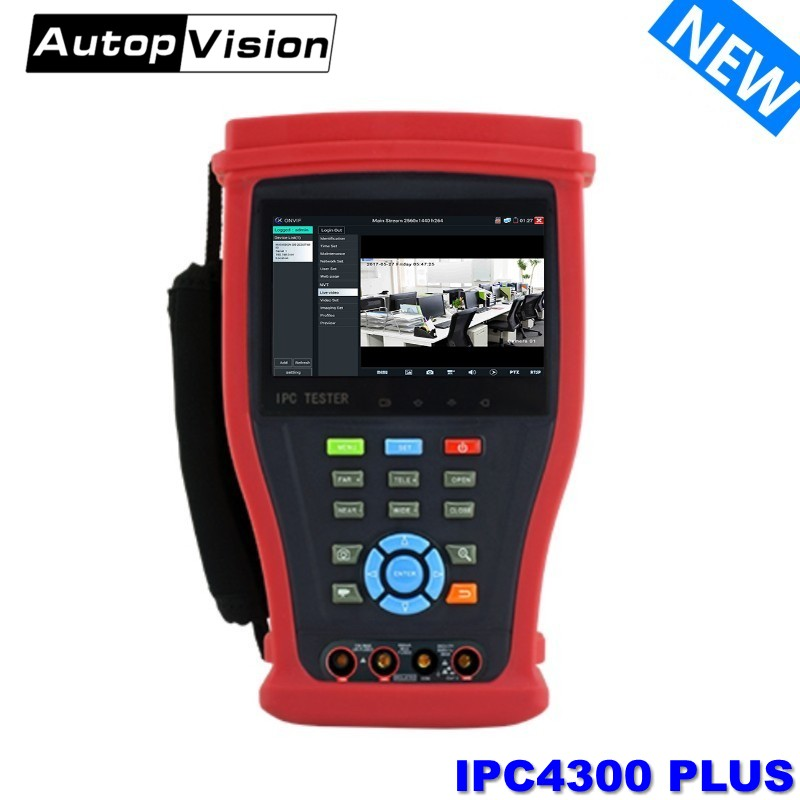 4300P CCTV TESTER H.265 IP+Analog+ 5MP AHD+8MP CVI+8MP TVI+SDI Camera Tester HDMI IN Digital Multimeter+Network Cable Tracer PTZ