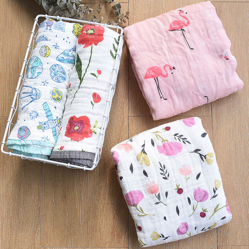 120x120cm Newborn Baby Swaddle Wrap Blanket 4 Layers Muslin Cotton Baby Blankets Floral Print Baby Photography Props Blanket