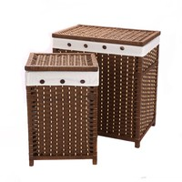Large Laundry Storage Basket Hamper Closet Paper Rope Woven Laundry Sorters With Lid Organizer For Clothes