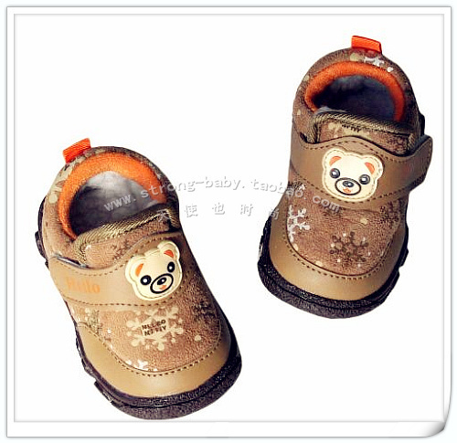 Large cotton bear low soft outsole toddler shoes winter baby non-slip shoes