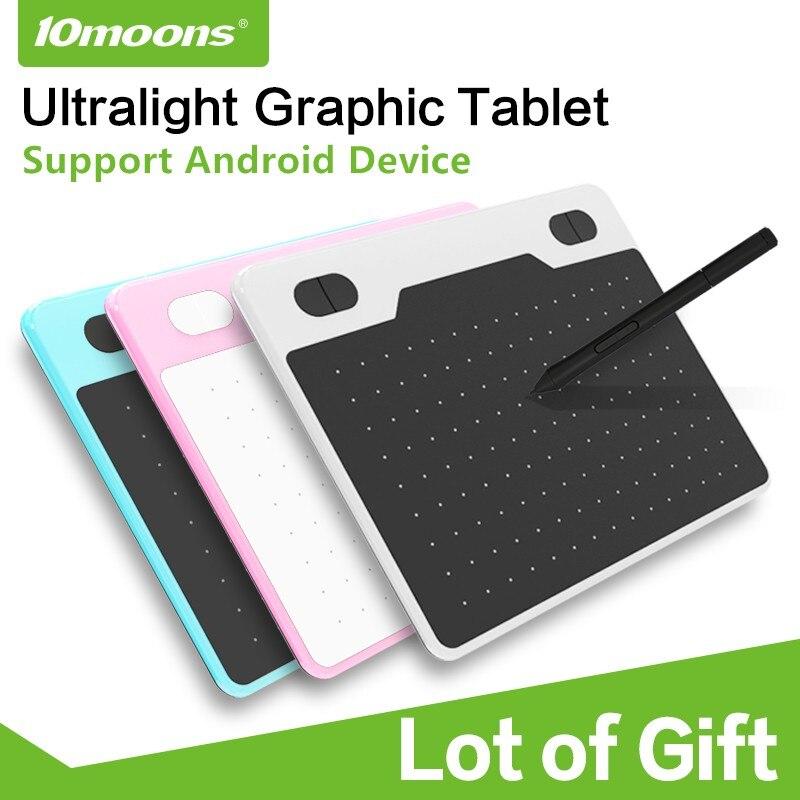 10 lunes 6 pouces tablette graphique ultralégère 8192 niveaux tablette de dessin numérique stylo sans batterie Compatible appareil Android avec cadeau