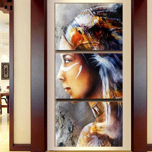 Aliexpress.com : Buy Canvas Painting 3 Panel Native American Indian ...