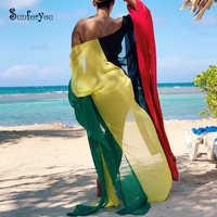 2019 gasa Playa cubrir vestido traje de baño cubierta ups Pareos de Playa Mujer Bikini cubrir playa túnica