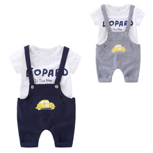 2019 NEW Boys Clothes Summer Sets Baby Boy Short Sleeve T-shirt + Suspender Short Pants Children Clothing Set Kids Clothes стоимость