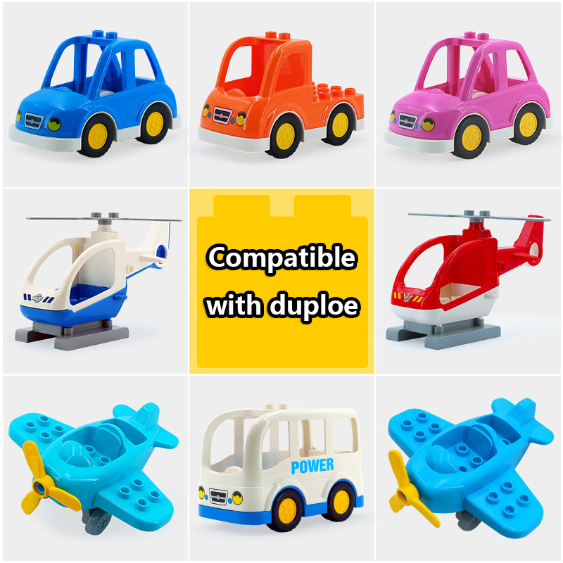 DIY Engineering Car Vehicle Set Plane Helicopter Big Particles Building Blocks Accessory Compatible Brand Duploe Bricks Toys