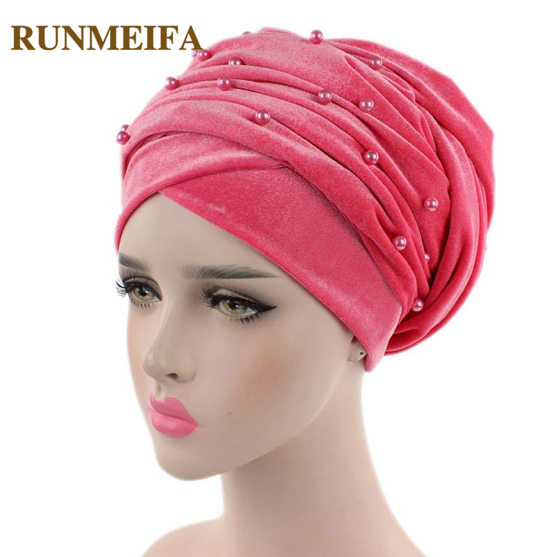 New Arrival Velvet Muslim Headscarf Ruffle Hijab Elegant Soild Pearl Turban Soft Comfortable Beanies Head Wrap Mother Hat