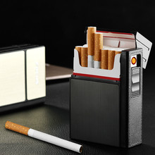 New Ciagrette Holder Box with Removable USB Electronic Lighter Flameless Windproof Tobacco Cigarette Case Lighter