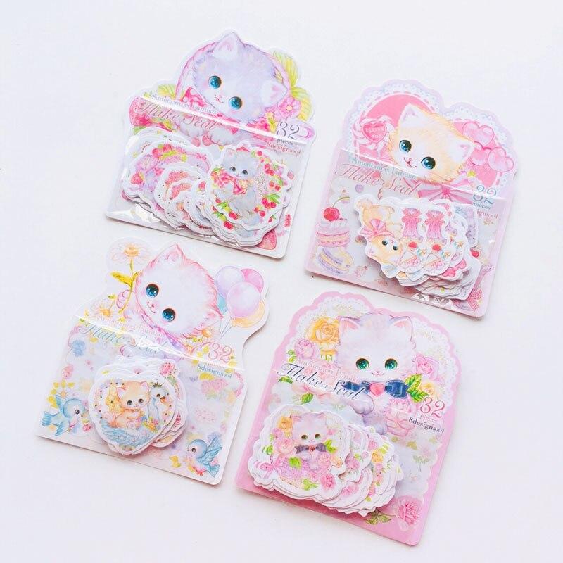 32pcs /Bag Sweet Cat & Flowers Decorative Stickers DIY Sealing Paste Stick Label Notebook Computer Decor