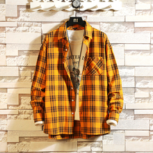 New 2019 Men's Long Sleeve Shirt Fashion Classic Plaid Loose Casual Shi