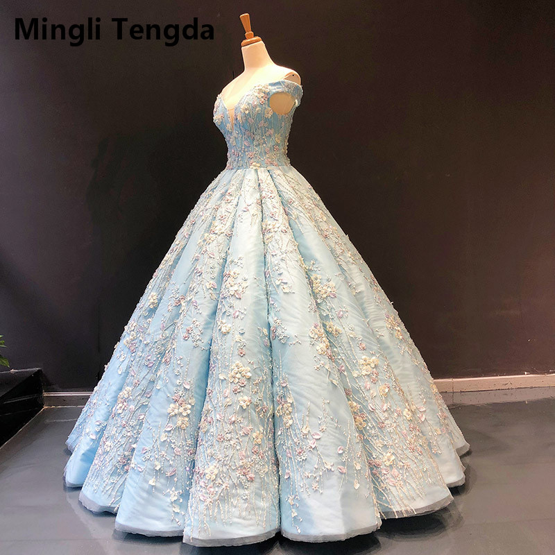 Mingli Tengda Mori Seawater Blue Puff Scratch Quinceanera Dresses Beaded Flower Pearls Ball Gown Off The Shoulder Sweet 16 Dress(China)