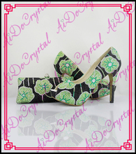 Aidocrystal top design green and black crystal flower matching italian shoes and bag set