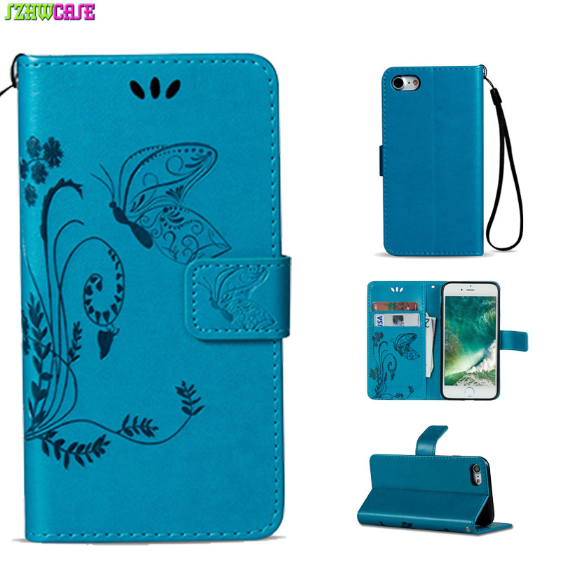 Fundas For Cover iPhone 8 7 Case Stand Flip Wallet Pu Leather TPU Back Embossed Butterfly Purse Pouch Handbag Trend Card Pockets