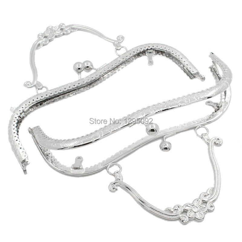 10Pcs Silver Tone Flower Coin Arch Frame Kiss Clasp With Handle Lock For Purse Bag Handbag Handle Findings 21x9cm