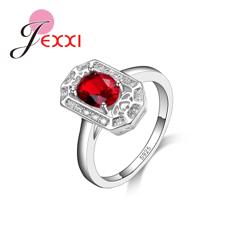 JEXXI Red Special Top Quality Women Fashion Ring 925 Sterling Silver Wedding Party Accessories Charm Gift For Lover Hot Selling