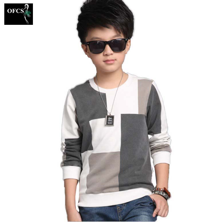 2017 New Leisure Kids Children's Clothing, Boy Autumn Checked Knit Sweater T-shirt Coat Cuhk Children Joining Together 5-16Year