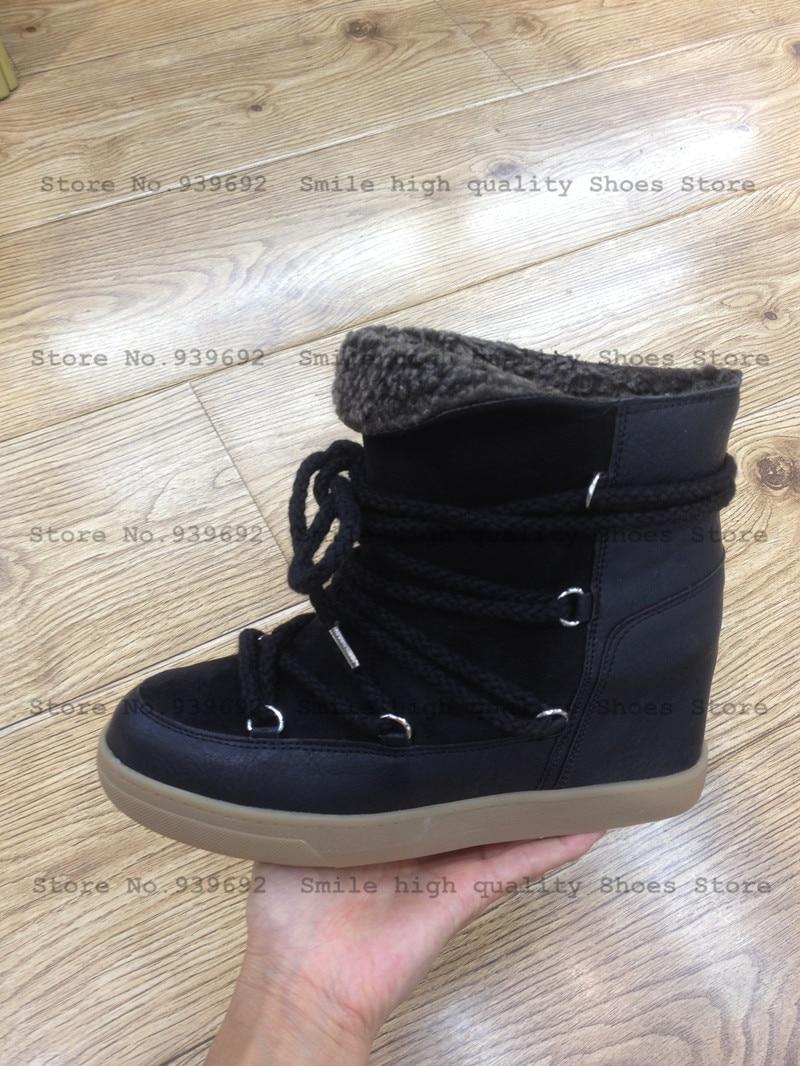 Sourire Cercle Hiver Bottes Femmes Chaussures Coins Cachés Bottes Ascenseur Dentelle-up Casual Chaussures Pour Femmes Cheville Bottes Wedge sneakers - 2