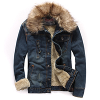 Winter Plus Velvet Thick Denim Jacket Male Large Size Vintage Men S Fur Collar Casual Denim