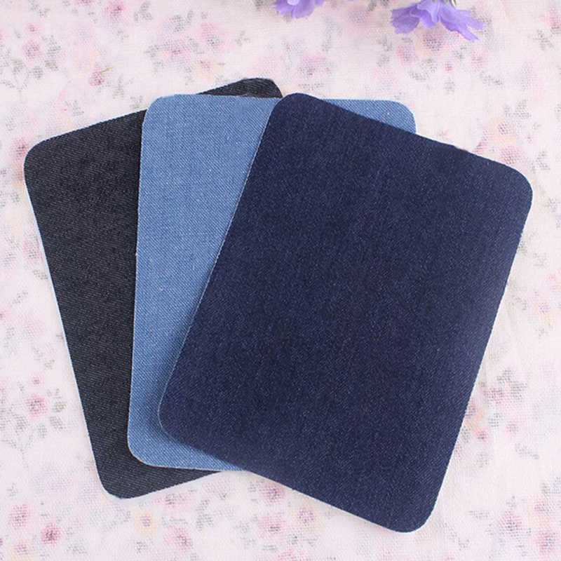 1 Pair Applique Iron On Denim Jeans Patches Repairs Elbow Knee Patch Creative Sewing Light Blue/Deep Blue/Black