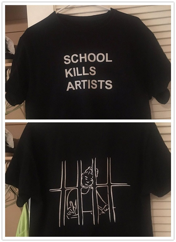 Cute T-Shirt Grunge Fashion Black  Tops School Kills Artists Double Print  Tee Unisex Youth Street Style Cool