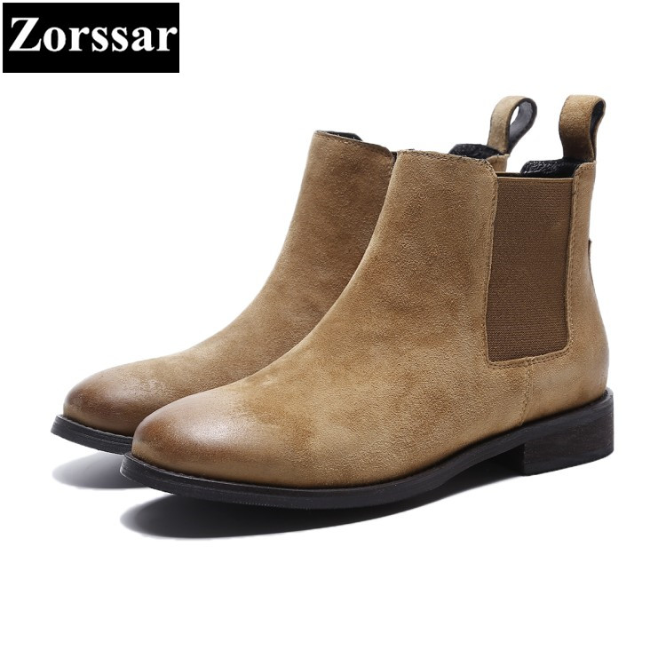 {Zorssar} 2018 NEW fashion Retro style women Chelsea boots Kid suede Round Toe Low heel ankle boots autumn winter women shoes new arrival superstar genuine leather chelsea boots women round toe solid thick heel runway model nude zipper mid calf boots l63