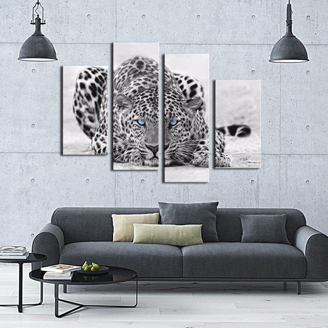 4 Bild Kombination Black White Wall Art Malerei Blue Eyed Leopard