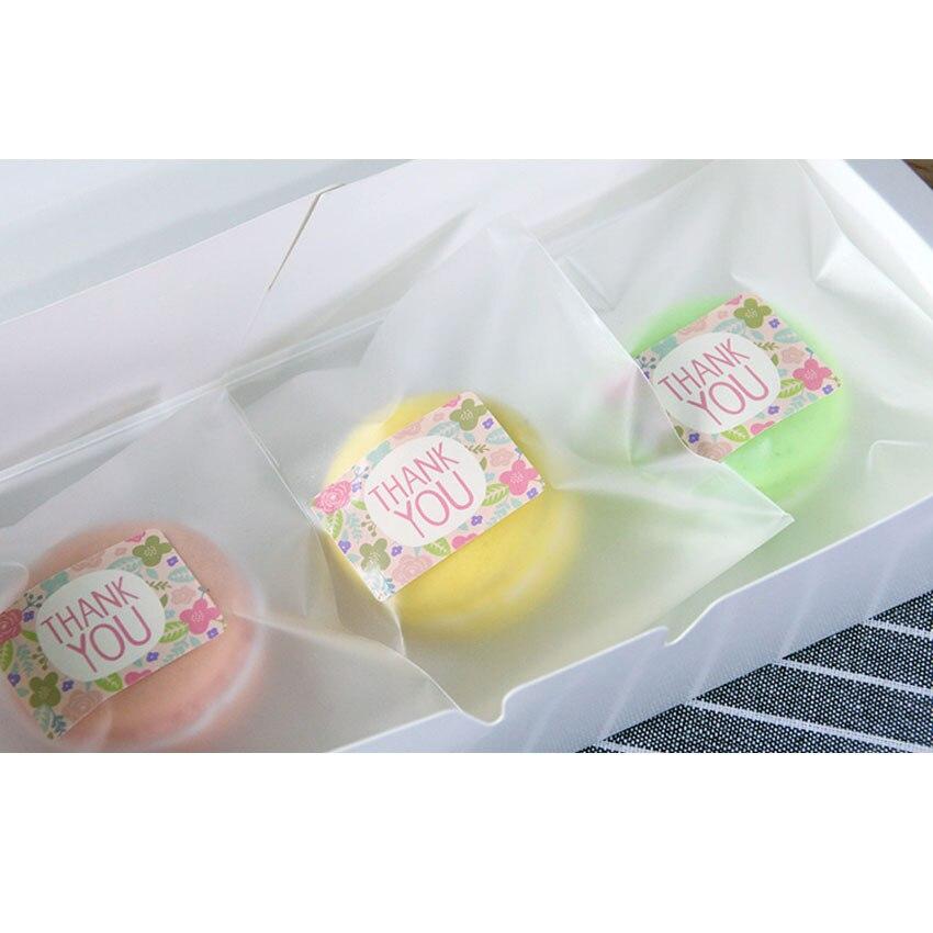 Купить с кэшбэком 90pcs/lot Pink Flowers 'THANK YOU' Sealing Kraft Paper Stickers For DIY Cake Baking Label Gift Package Scrapbooking Stickers