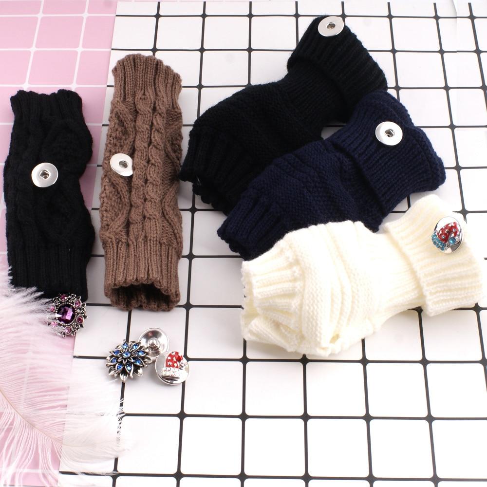 Partnerbeads Fashion Autumn Winter Keep Warm fit 12 mm snap button Arm Warmer Long Fingerless Knitting Wool bracelet for Women