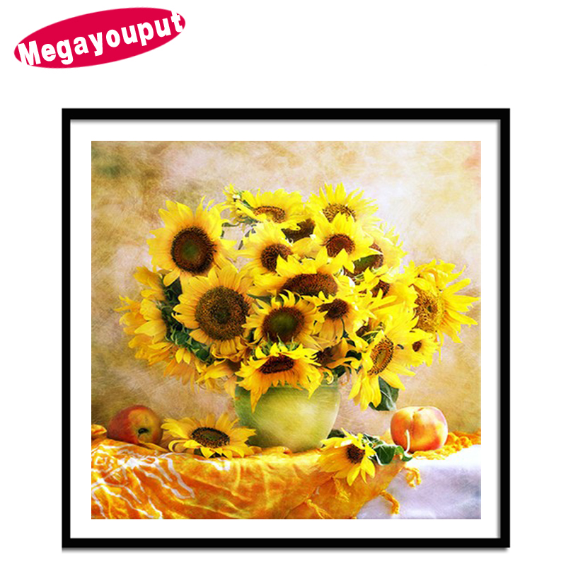 5D diy diamond painting mosaic cross stitch diamond mosaic pattern sunflower diamond embroidered flowers needlework home decor