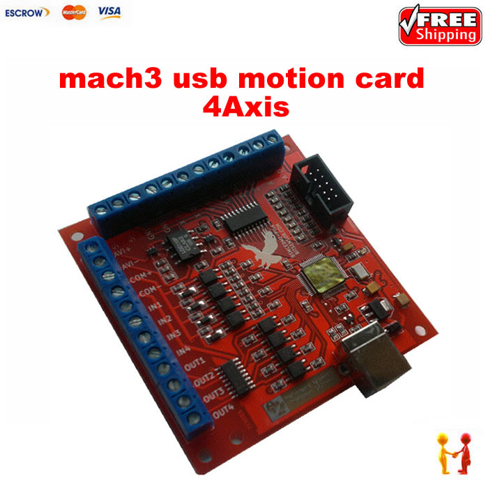 001 4 Axis 100KHz MACH3 USB Motion Controller card breakout board for CNC Engraving free shipping cnc mach3 usb 4 axis 100khz usbcnc smooth stepper motion controller card breakout board for cnc engraving 12 24v