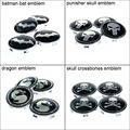 4 unids Neumáticos Llantas de 68mm del Centro de Rueda Hub Caps Auto Car Cubierta Emblema Del Logotipo de Batman, Punisher, Bandera Pirata del cráneo, Mortal Kombat