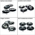4pcs Tire Wheel Center Hub Caps Auto Rims 68mm Car Cover Logo Emblem for Batman, Punisher, Skull Crossbones, Mortal Kombat