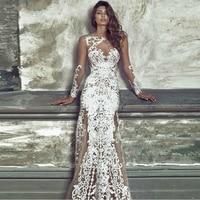 2017 Autumn Evening Long Formal White Lace Dresses Wedding Evening Party Vestido De Renda Robe Femme