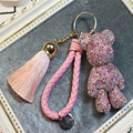 Luxury Trinket Key Ring Leather Rope Tassel Keychain DIY Craft Cartoon Bear Handmade Rhinestone Crystal Key Chains Charm Pendant