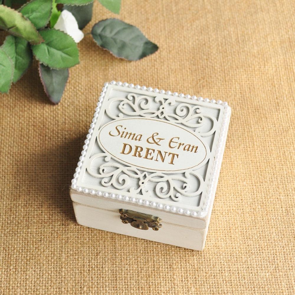 Boho wedding Custom Engraved Ring Box Rustic Names and date