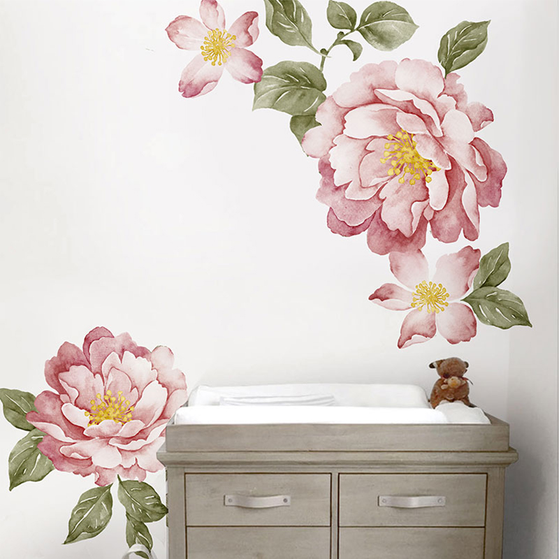 Vintage Peony Flowers Watercolour Peel And Stick Wall