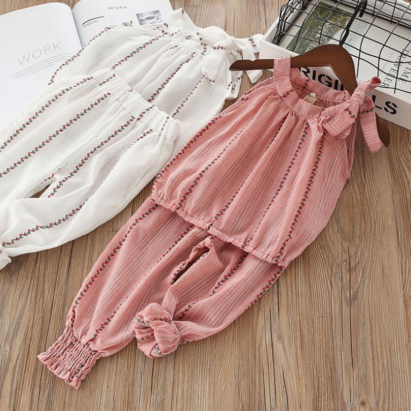 Baby Girls Set Ruffle Fashion Summer New Children Korean Striped Sling Tops Knickers Pants Two piece Boutique Clothing For Girl in Clothing Sets from Mother Kids